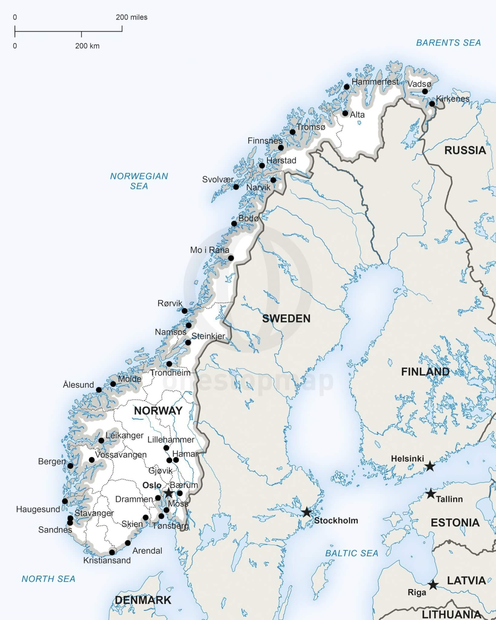 Vector Map Of Norway Political | One Stop Map - Printable Map Of Norway