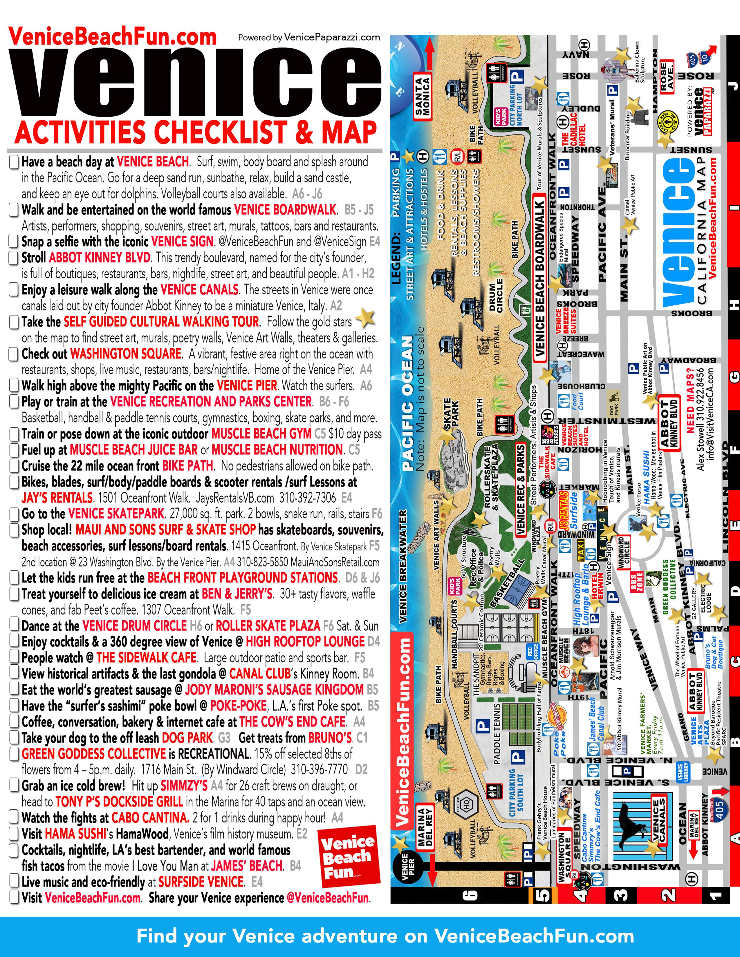 Venice Activities Checklist & Map - Venice Beach California Map