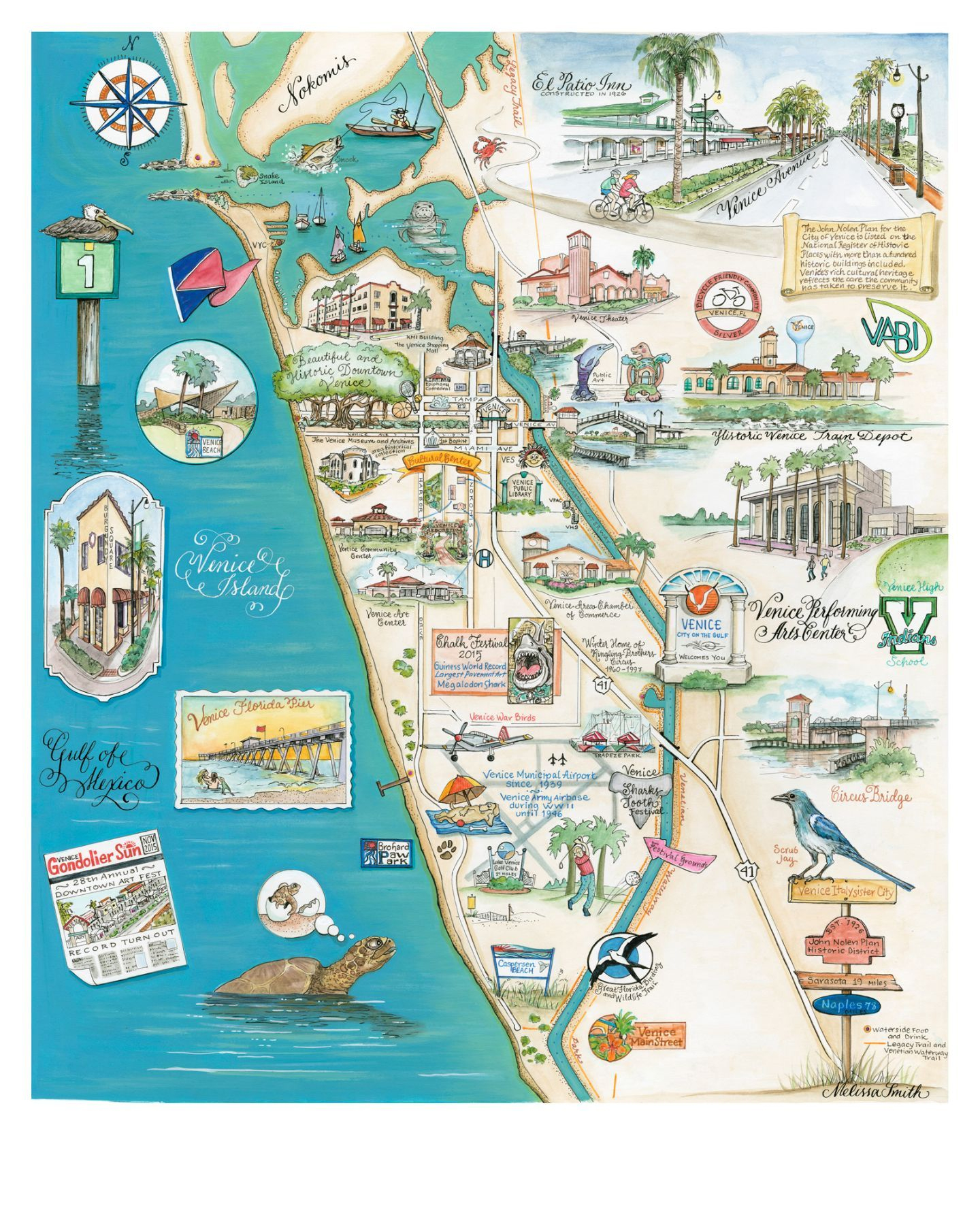 Venice, Florida Map - This Map Is One Of The Prettiest Maps I Have - Watercolor Florida Map