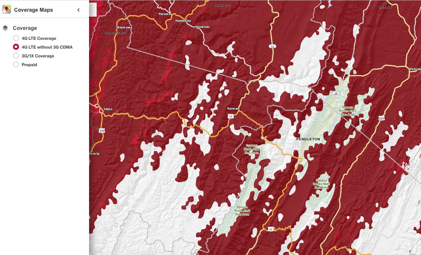 Verizon Coverage Map Shows At&t Roaming - Verizon Coverage Map In California