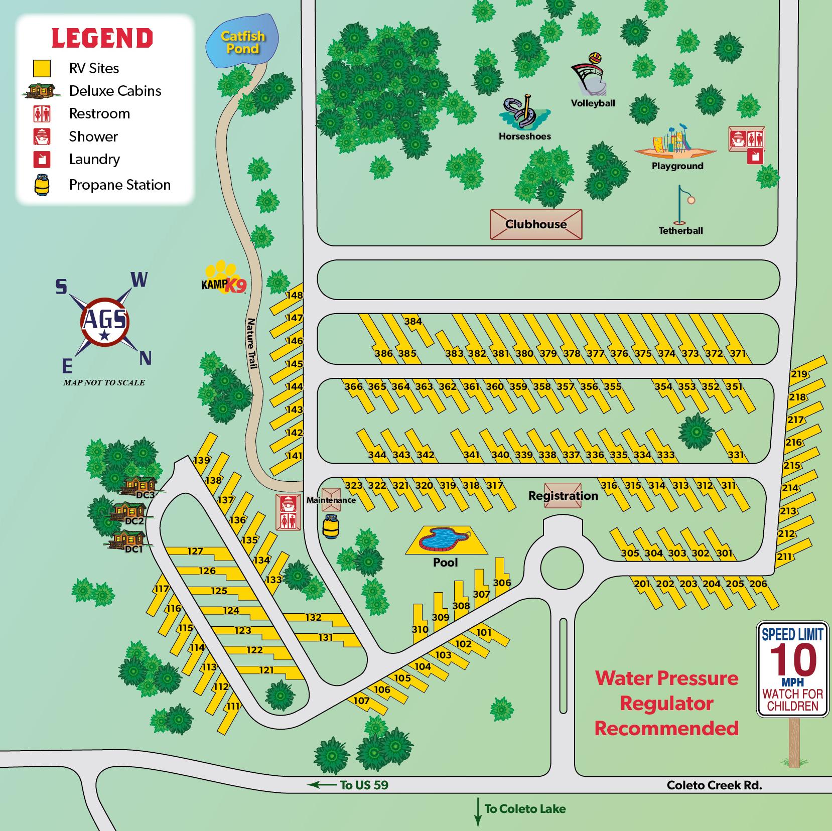 Victoria, Texas Campground | Victoria Coleto Creek Lake Koa - South Texas Rv Parks Map