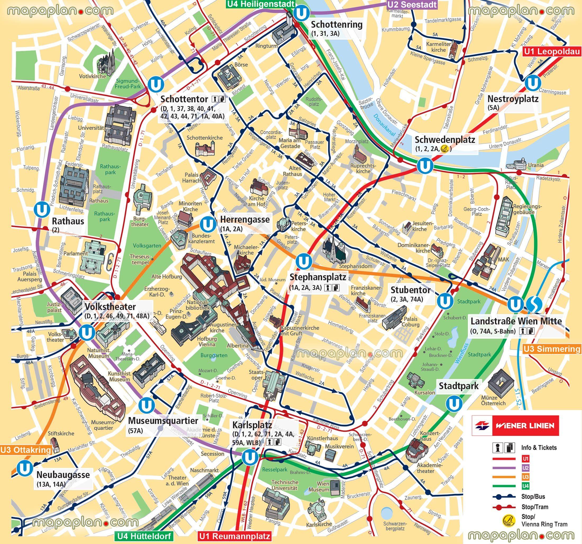 Vienna Map Ubahn Underground Subway Metro Stations Tram Stops - Vienna City Map Printable