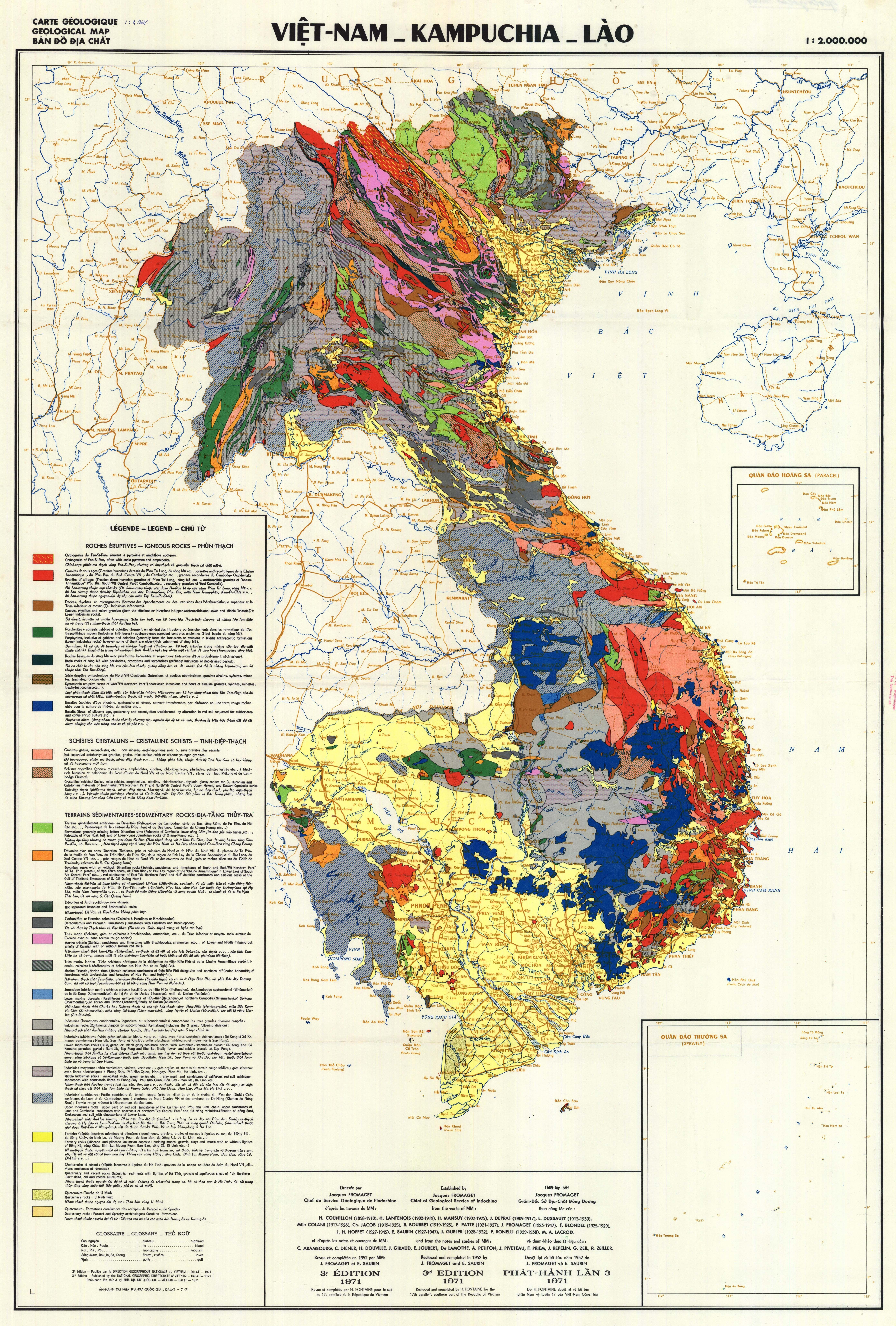Vietnam, Cambodia, Lao Geology Map, 1971 #map #geology #vietnam - National Geographic Topo Maps California
