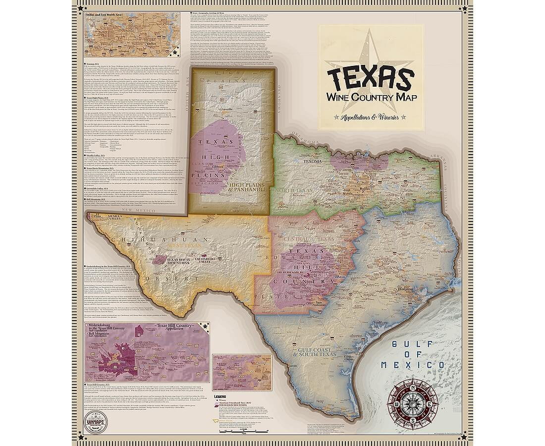 Vinmaps Texas Wine Country Map, Appellations & Wineries Review - Texas Hill Country Wine Trail Map