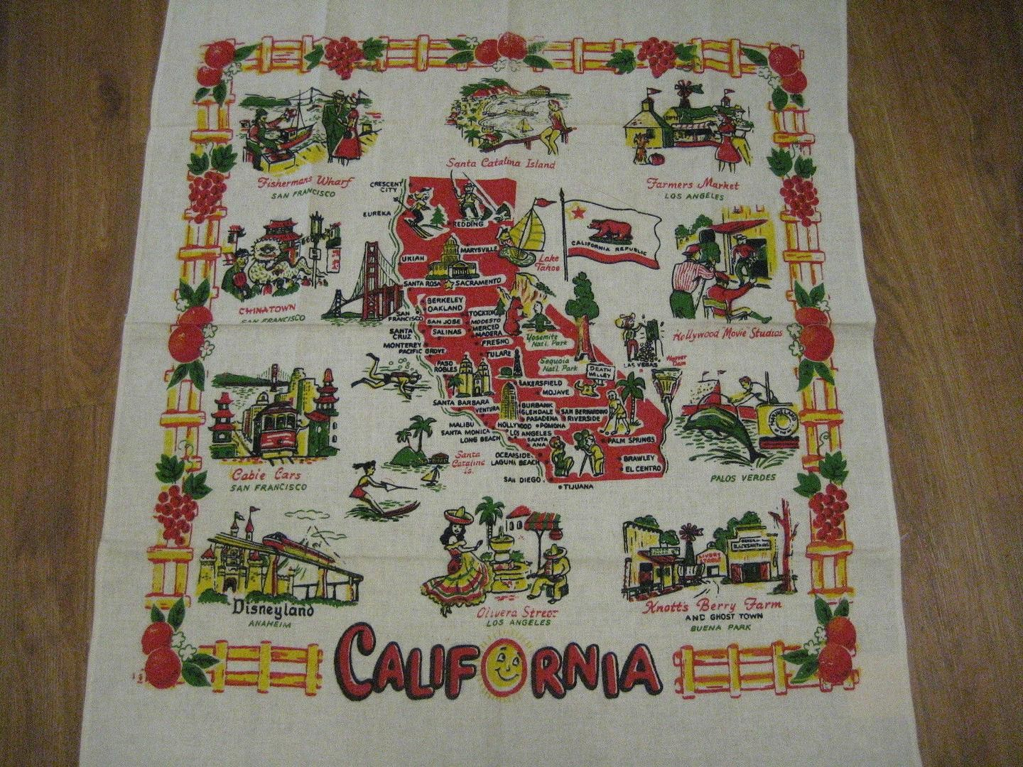 Vintage 1940S Souvenir Map Tablecloth From California | #1797852499 - Vintage California Map Tablecloth