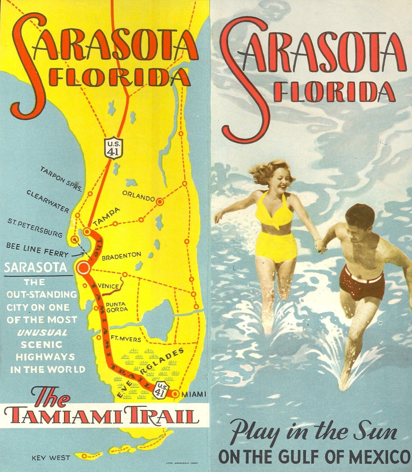 Vintage Brochure, Tamiami Trail Map | Florida - Petasne Real Estate - Tamiami Trail Florida Map