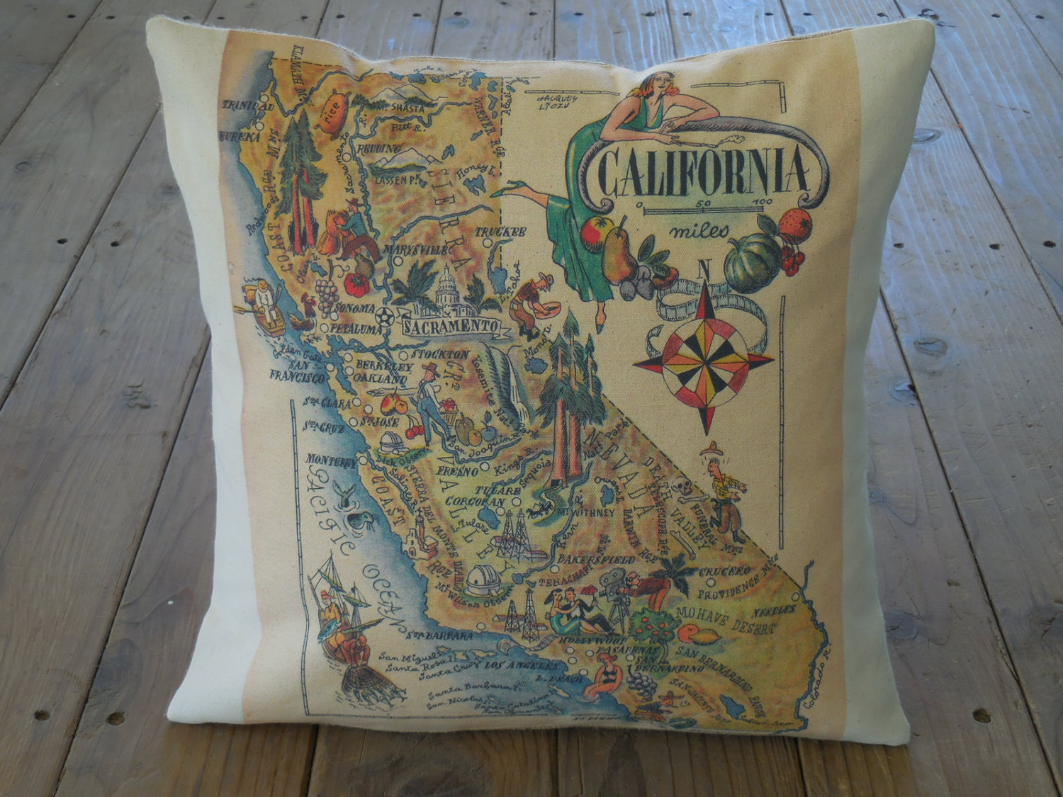 Vintage California Map Pillow Travel Geography Ca   Etsy - California Map Pillow