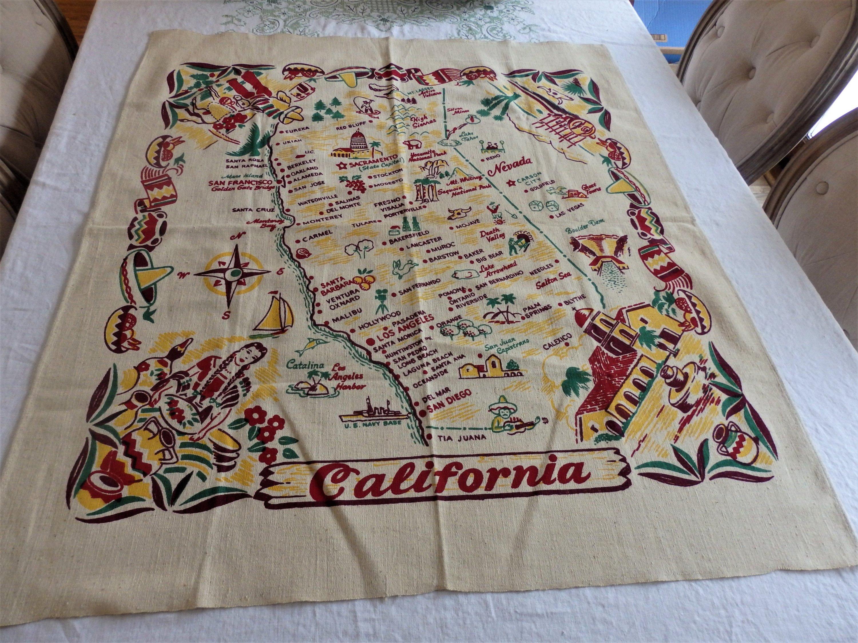 Vintage California Map Tablecloth. 1940's Souvenir | Etsy - Vintage California Map Tablecloth