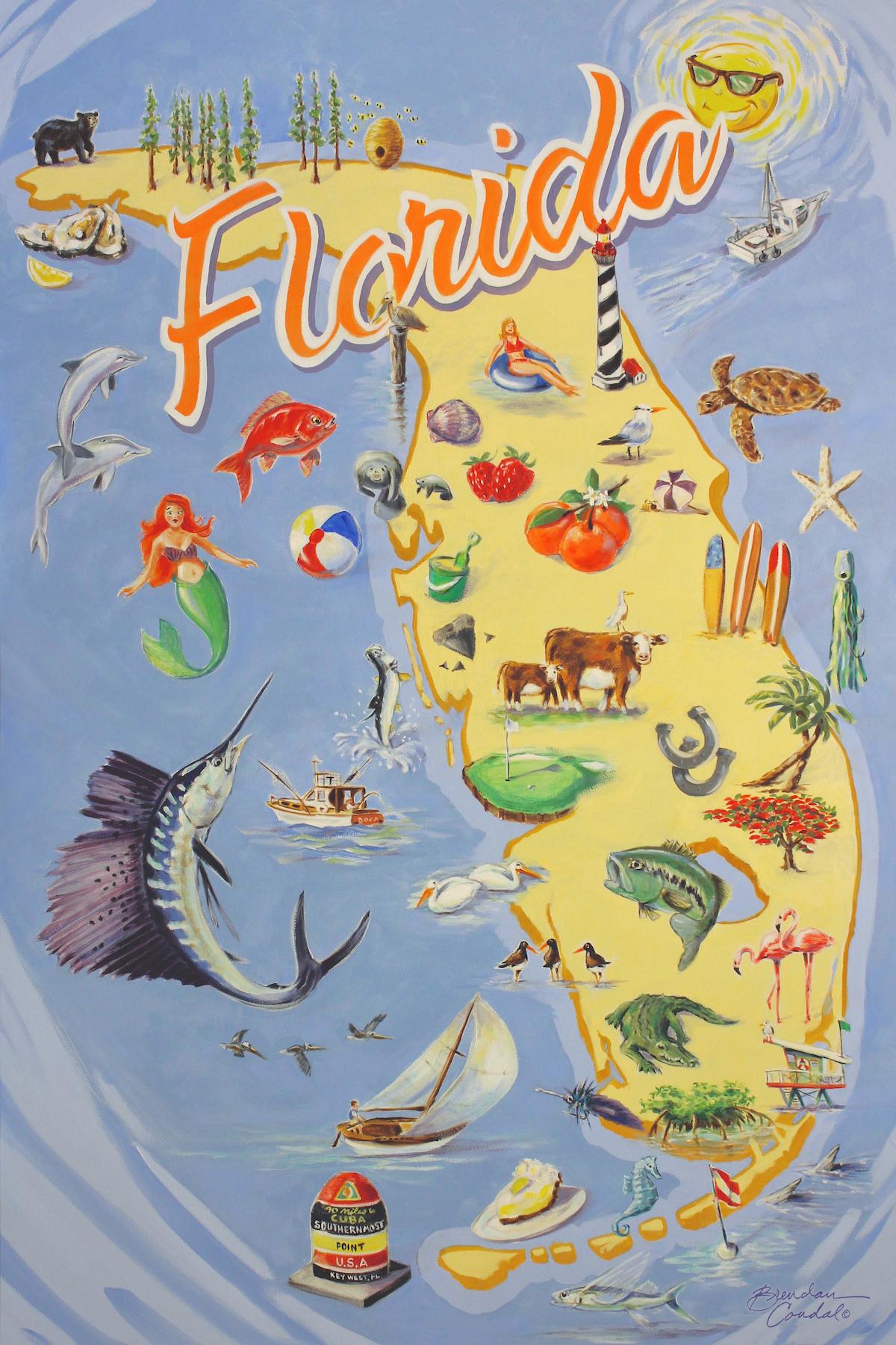 Vintage Florida Map | Brendan Coudal - Vintage Florida Map Poster
