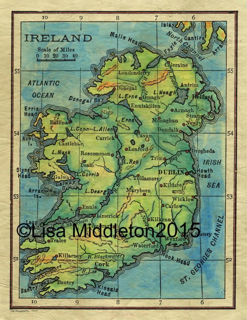 Vintage Ireland Map Ireland Map Ireland Map For Framing | Etsy - Emerald Isle Florida Map