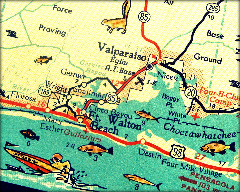 Vintage Map Art Of Destin Florida 8X10 Retro Map Ft Walton Beach - Denton Florida Map
