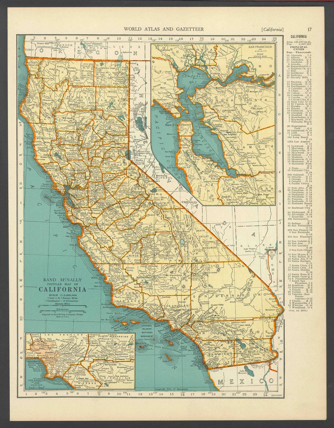 Vintage Map Of California From 1937 Original | I Love Maps - Vintage California Map