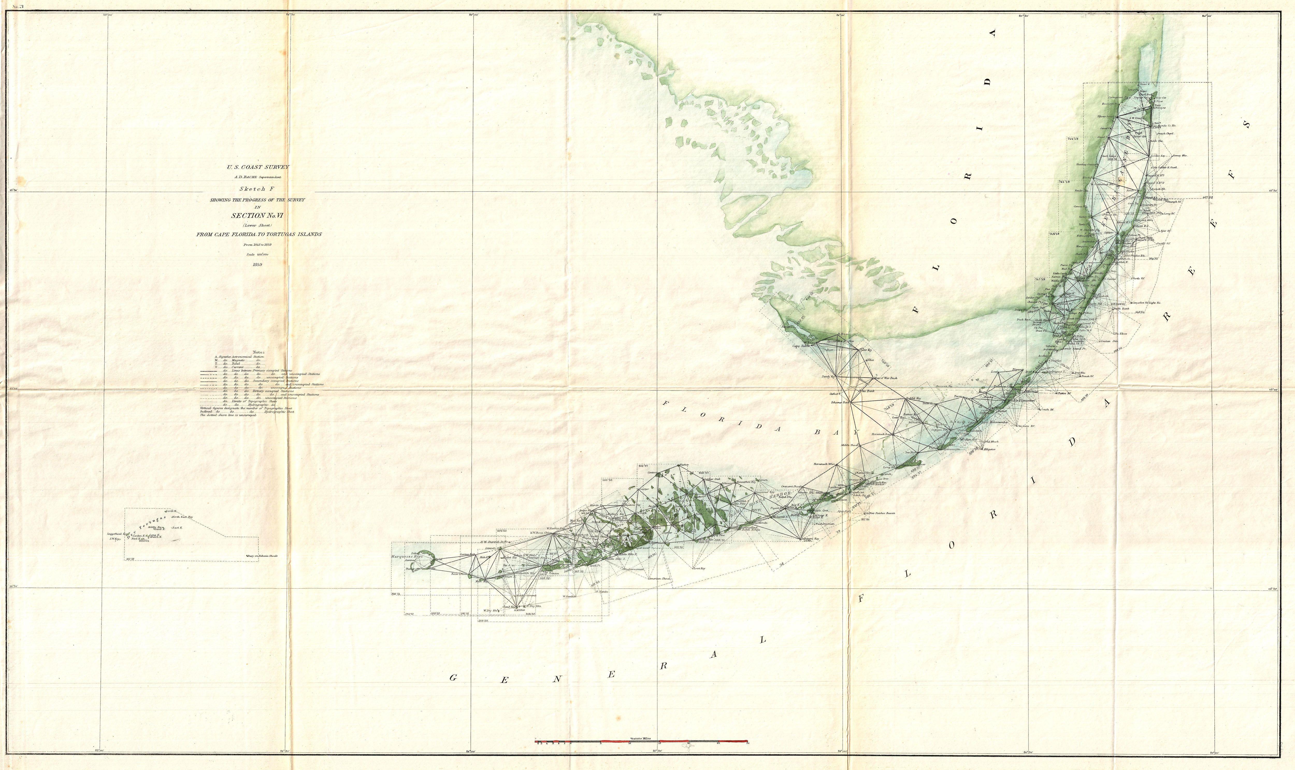 Vintage Map Of Key West - 1895 Us Coast Survey Triangulation | Kw - Florida Keys Map Art