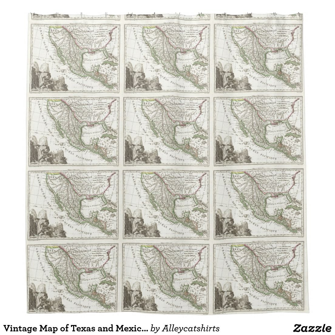 Vintage Map Of Texas And Mexico Territories (1810) Shower Curtain - Texas Map Shower Curtain