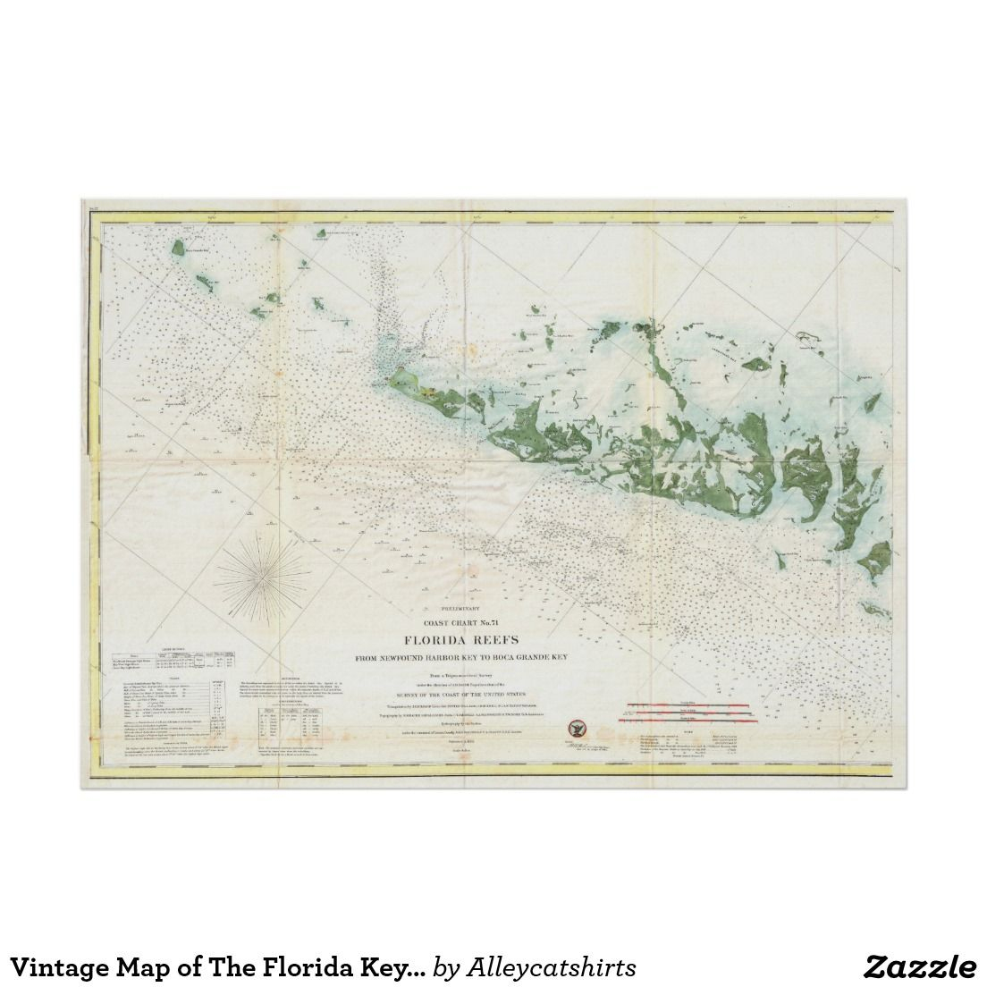Vintage Map Of The Florida Keys (1859) 2 Poster | Pinterest - Florida Keys Map Poster