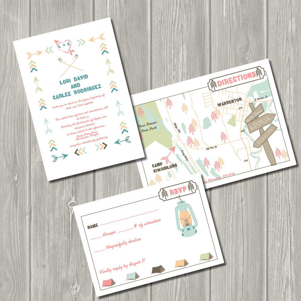 Vintage Summer Camp - Printable Wedding Invitation, Map, & Rsvp - Printable Maps For Wedding Invitations Free