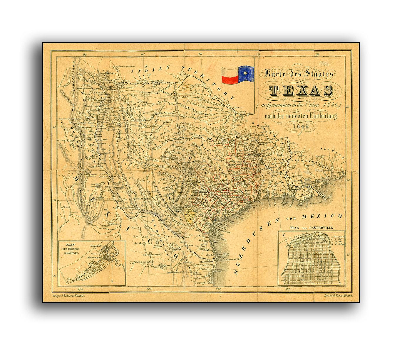 Vintage Texas Map 1849 Reproduction Antique German Print Lone | Etsy - Antique Texas Map Reproductions