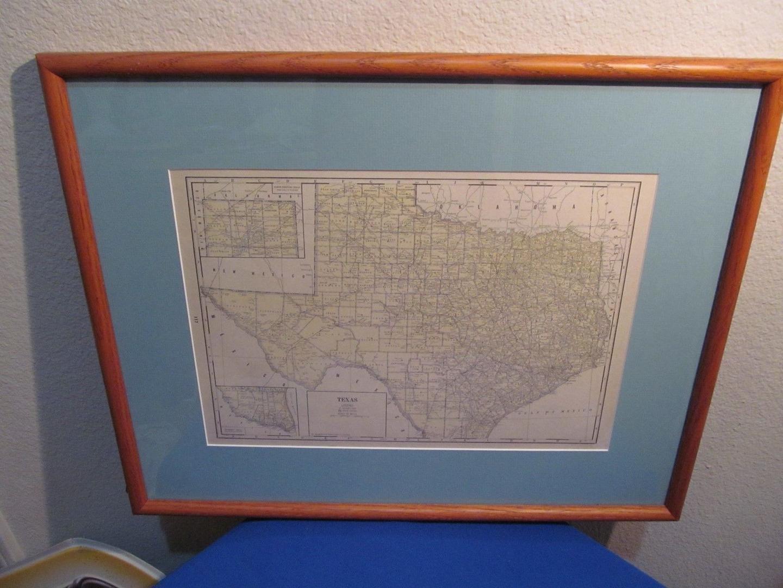 Vintage Texas Map ! Framed And Matted ! | #1933709840 - Vintage Texas Map Framed