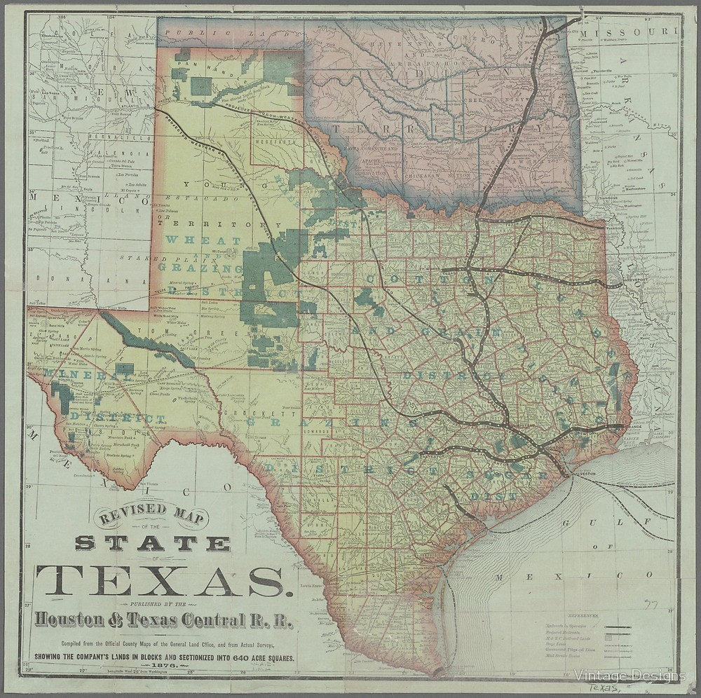 "Vintage Texas State Map""vintage Designs 