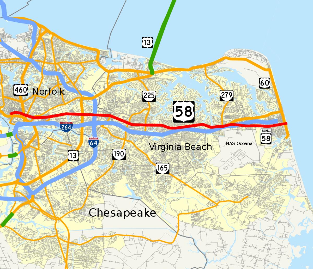 Virginia Beach Boulevard - Wikipedia - Printable Map Of Norfolk Va