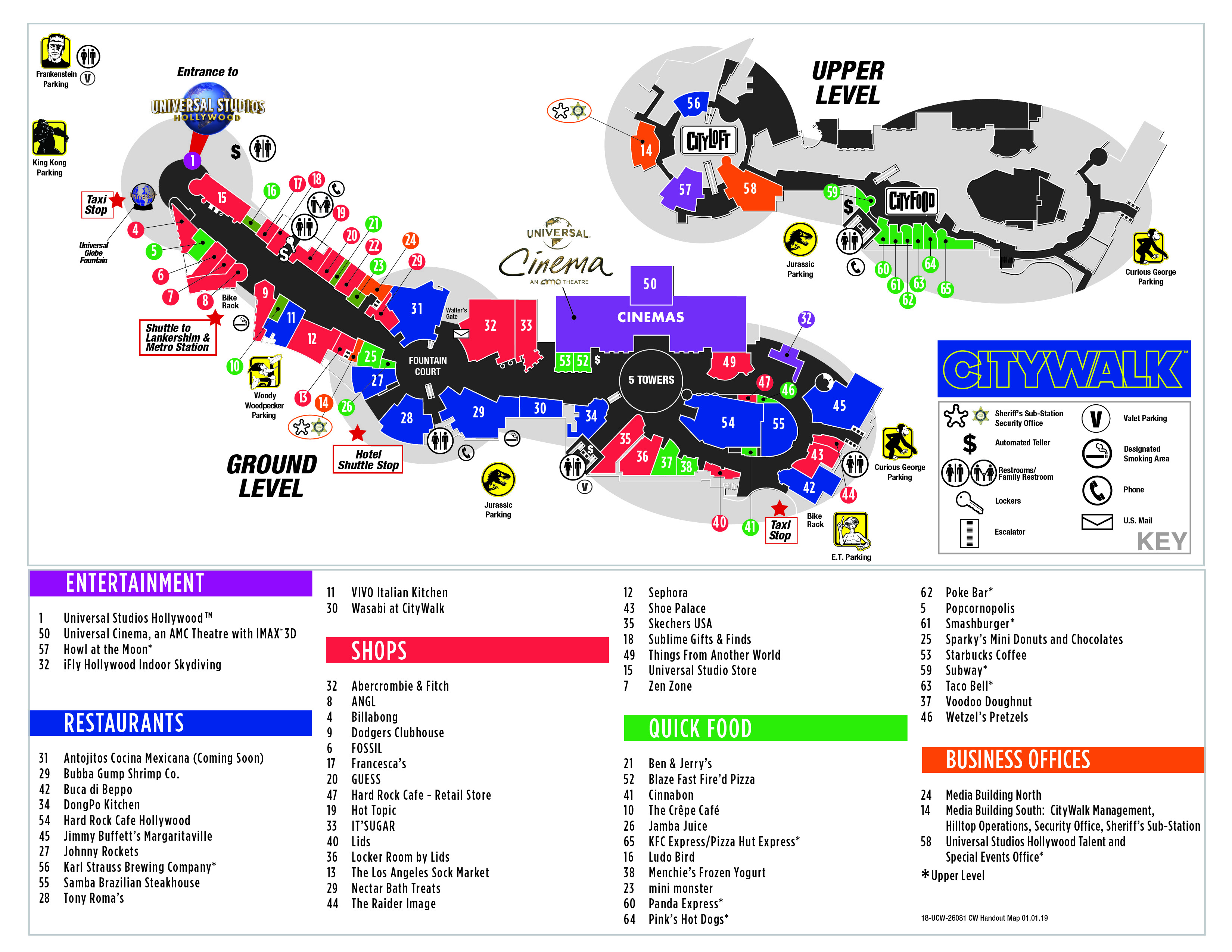 Visitor Map | Citywalk Hollywood - Universal Citywalk California Map