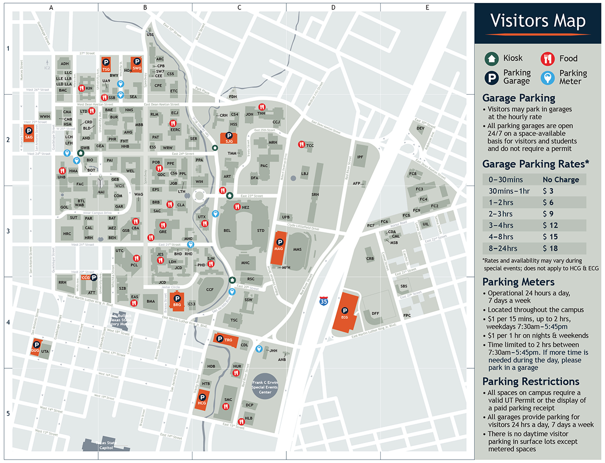 Visitor's Map | Parking & Transportation | The University Of Texas - Texas State Dorm Map