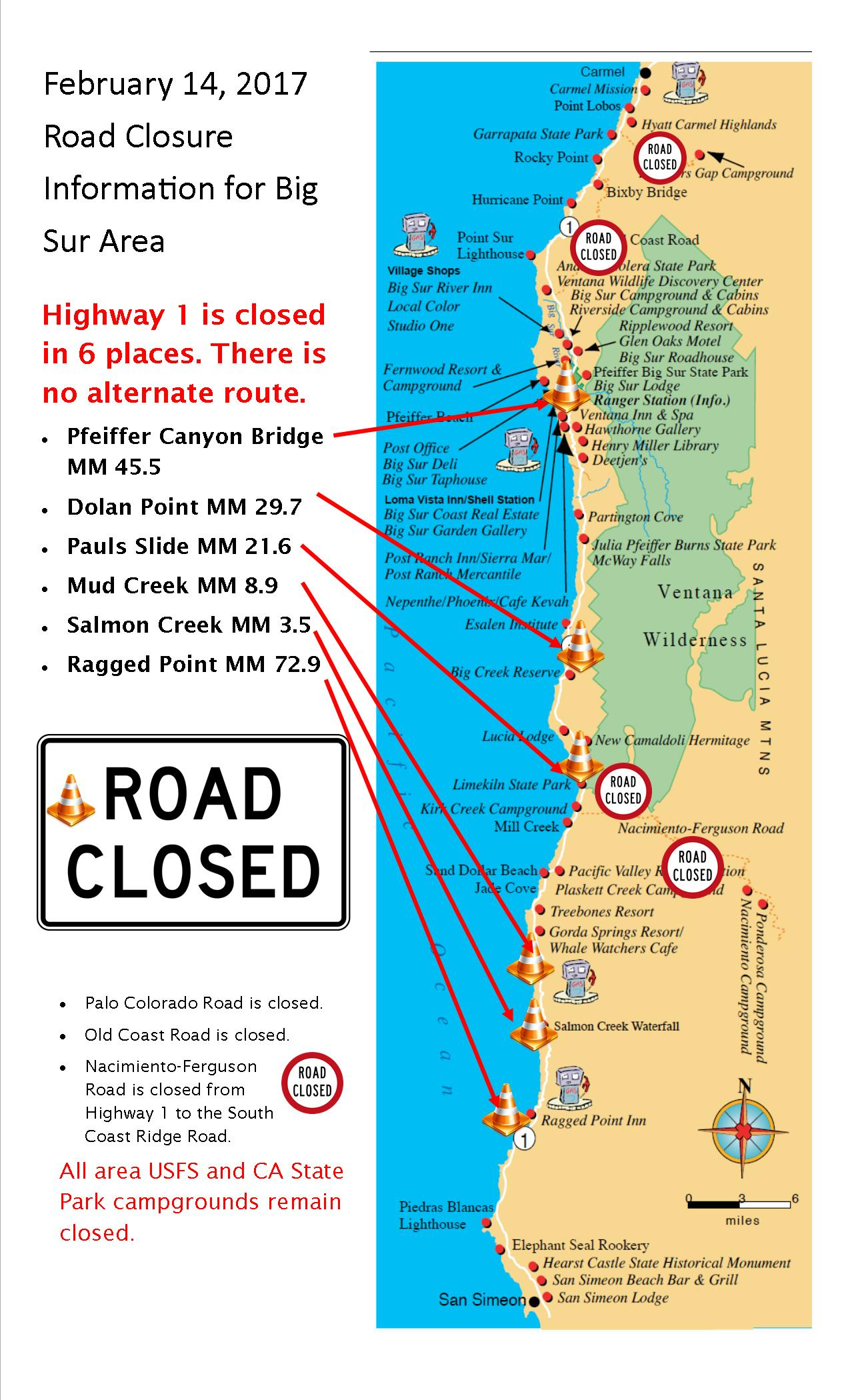 Visual Guide To Road Closures In Big Sur | Big Sur California - California Road Closures Map