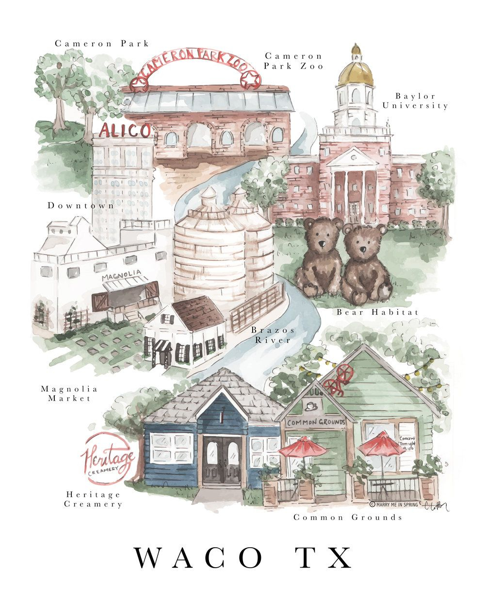 Waco Map Print (New) | Waco - Baylor's Hometown | Waco Texas, Baylor - Magnolia Texas Map