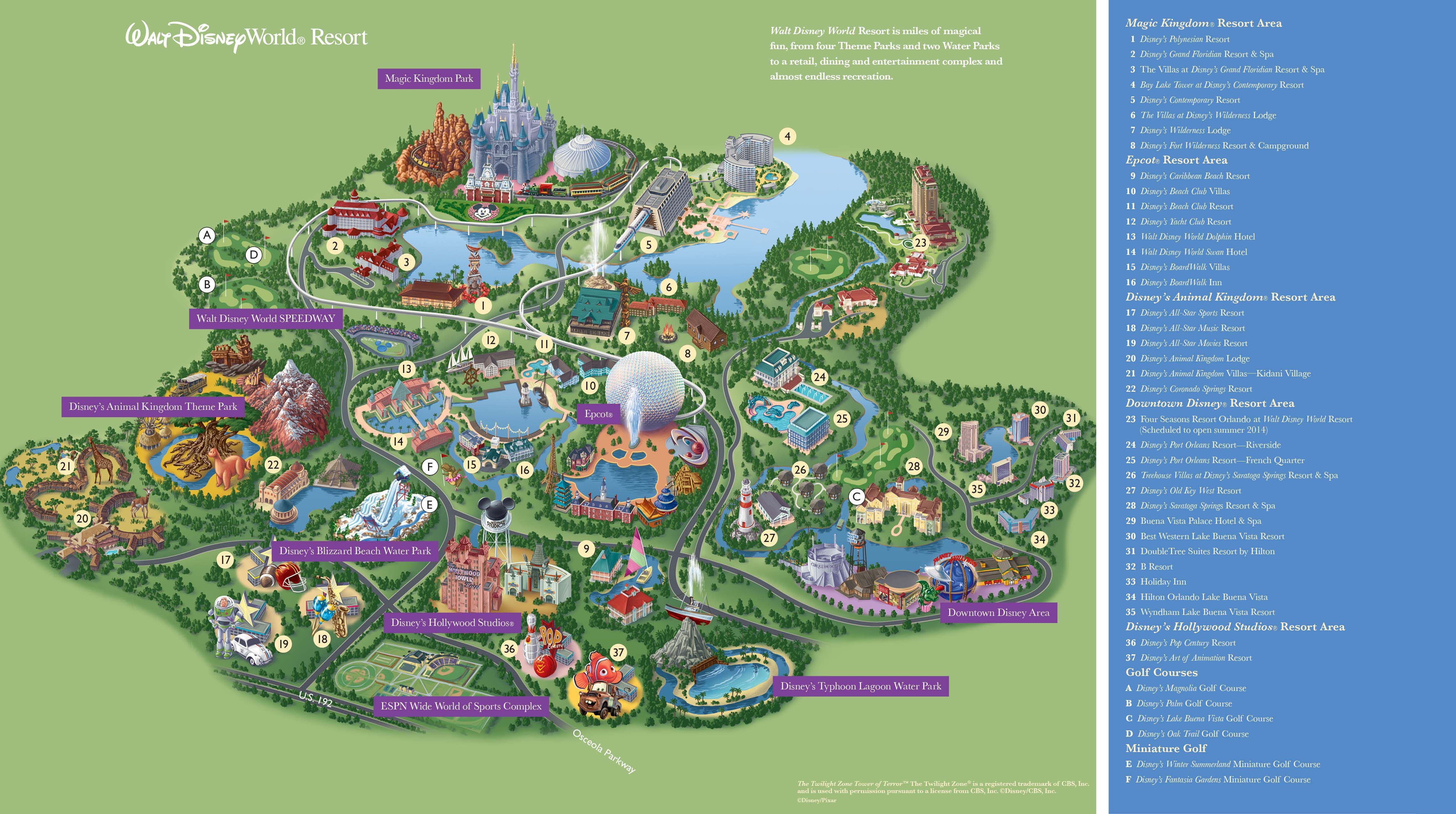 Walt Disney World Maps - Parks And Resorts In 2019 | Travel - Theme - Florida Map Hotels
