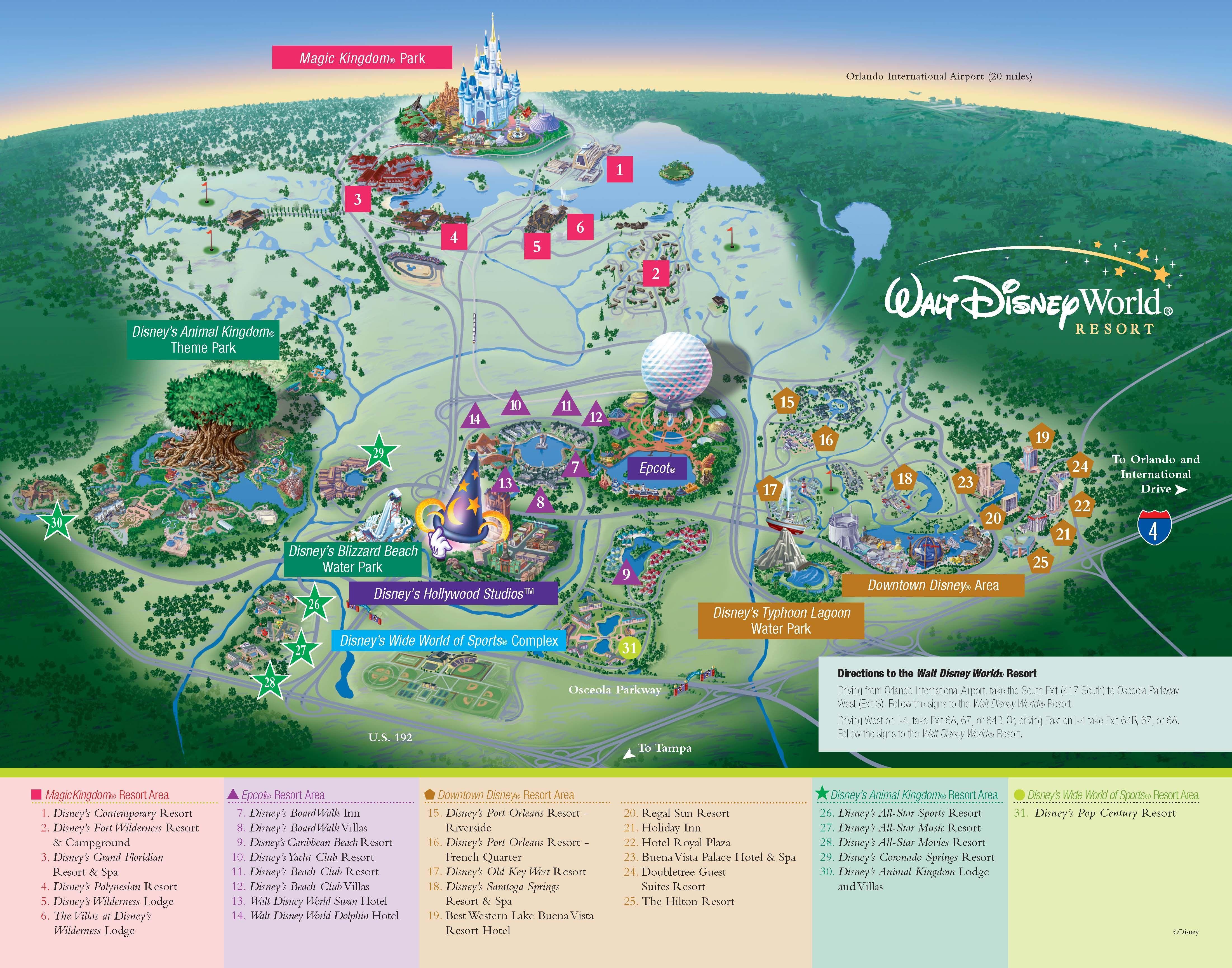 Walt Disney World - Resorts - Resort Map | Wdw -- Disney Resorts In - Map Of Disney Florida Hotels