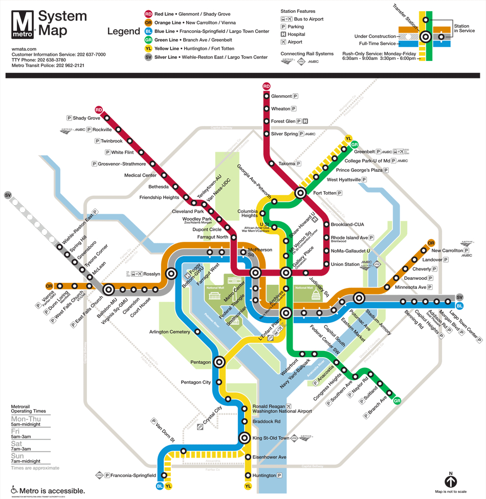 Washington, D.c. Subway Map | Rand - Printable Washington Dc Metro Map