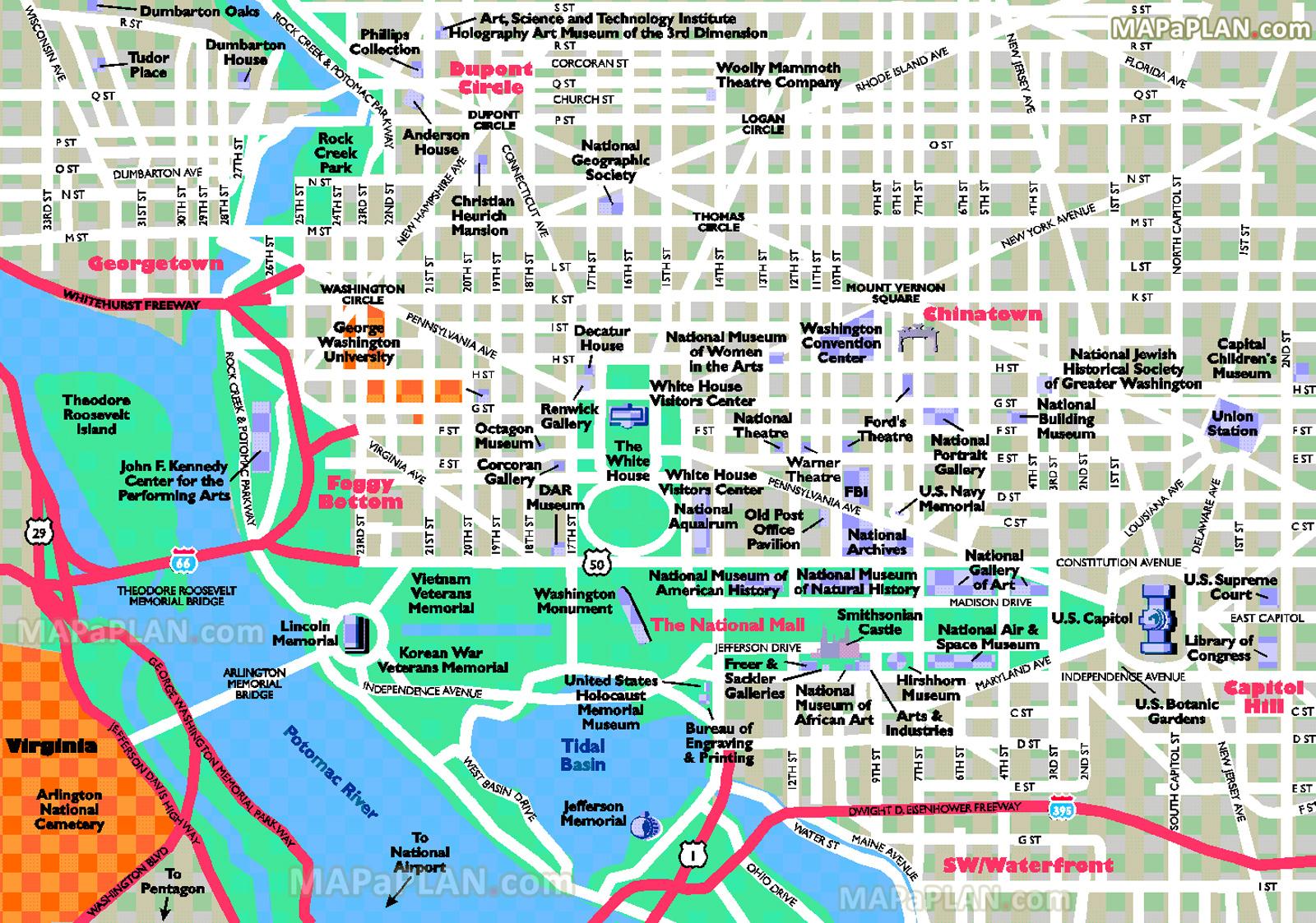 Washington Dc Maps - Top Tourist Attractions - Free, Printable City - Printable Map Of Washington Dc