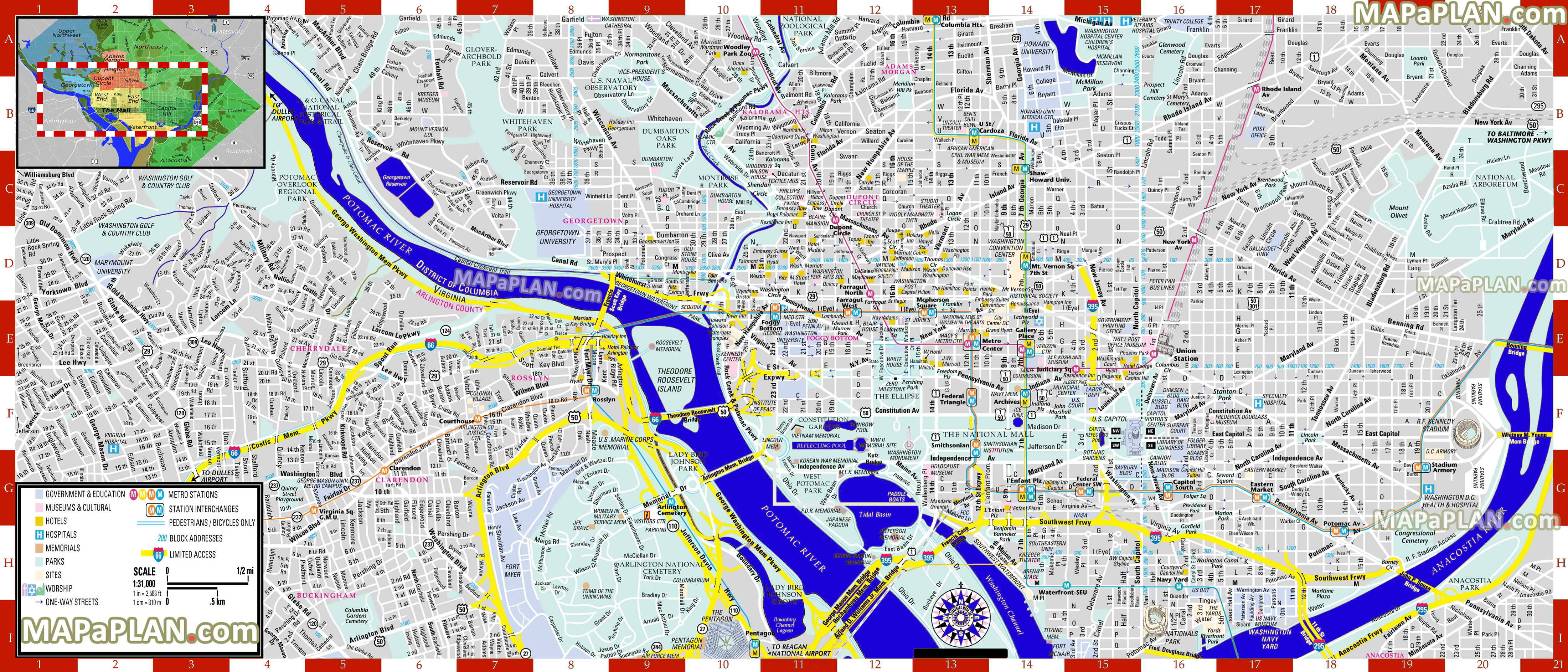 Washington Dc Maps - Top Tourist Attractions - Free, Printable City - Printable Street Maps Free