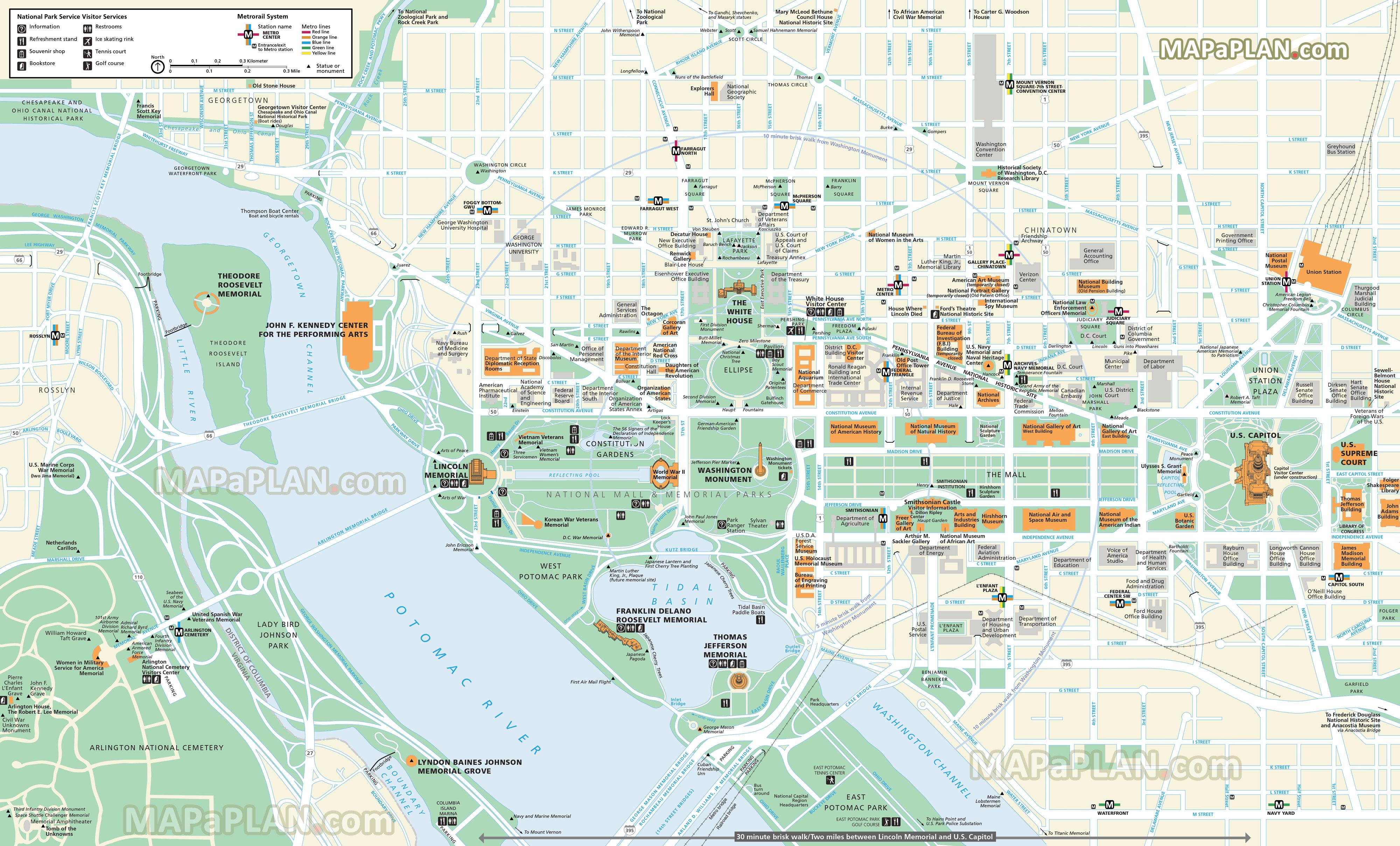 Washington Dc Maps - Top Tourist Attractions - Free, Printable City - Washington Dc Tourist Map Printable