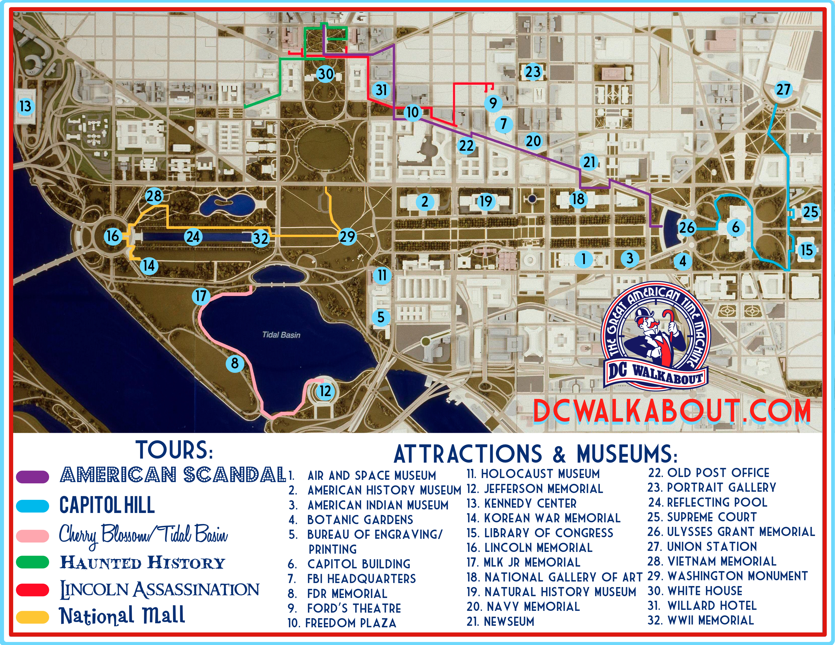 Washington Dc Tourist Map | Tours & Attractions | Dc Walkabout - Printable Walking Map Of Washington Dc