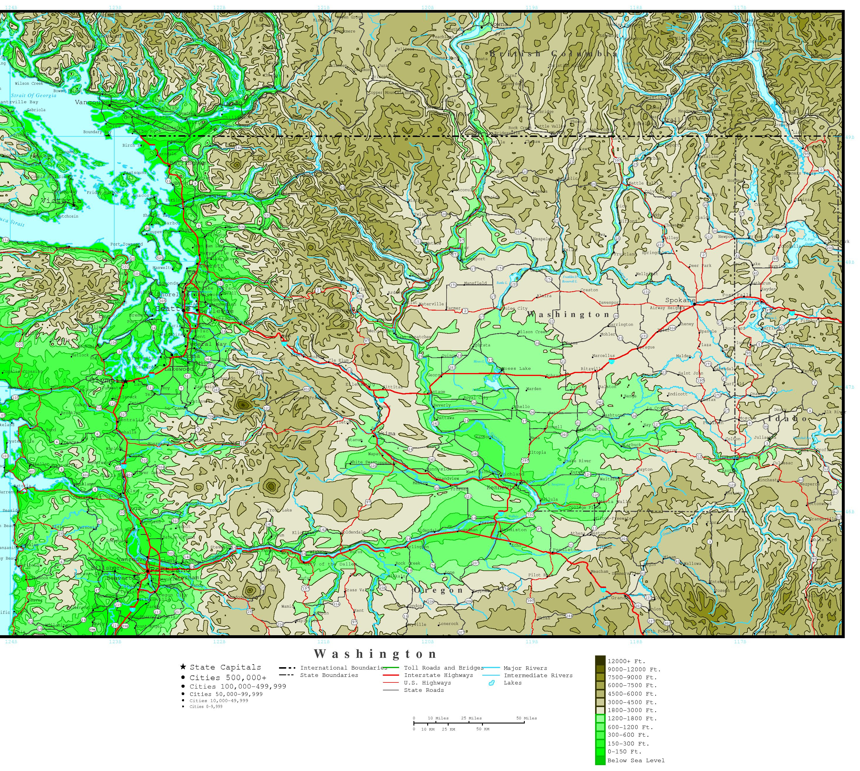 Washington Elevation Map - Printable Map Of Washington State
