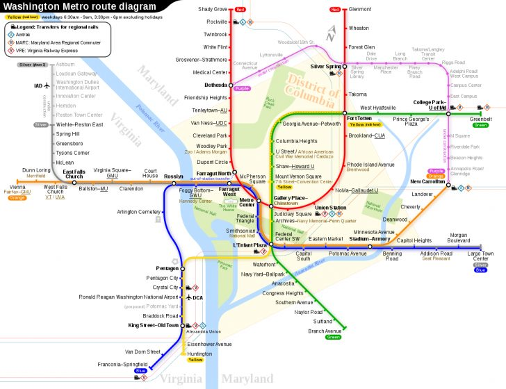 Printable Metro Map Of Washington Dc