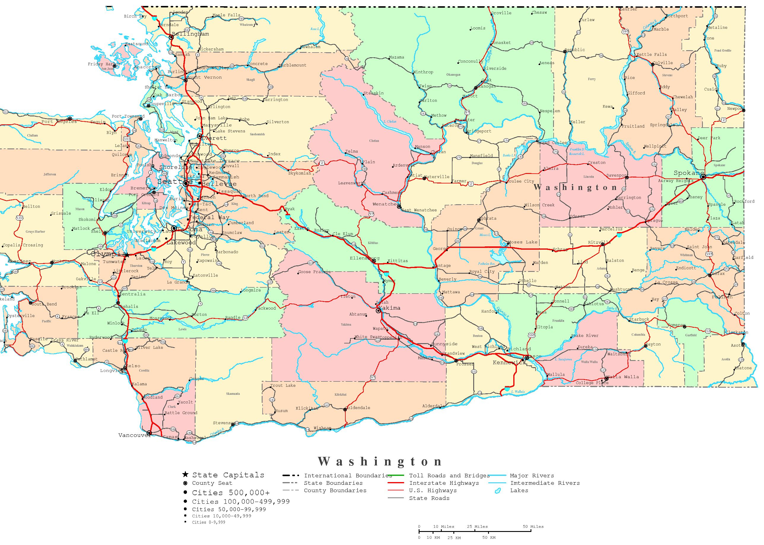 Washington Printable Map - Printable Map Of Seattle Area