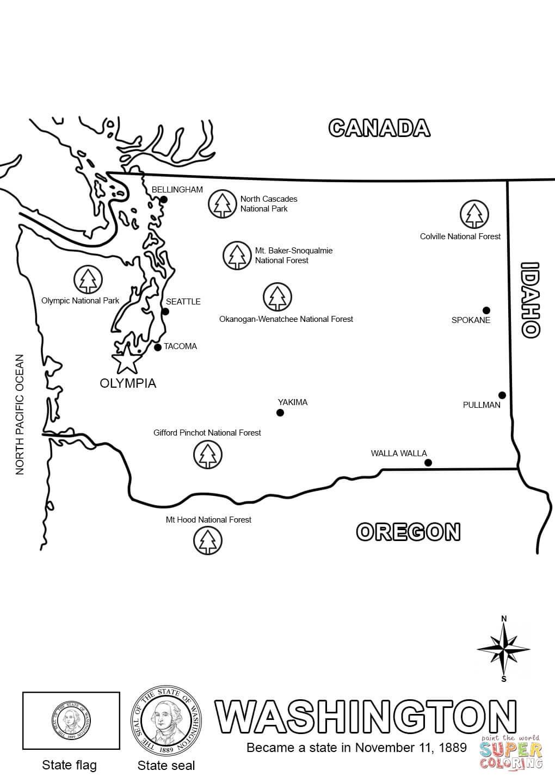 Washington State Map Coloring Page   Free Printable Coloring Pages - Printable Map Of Washington State