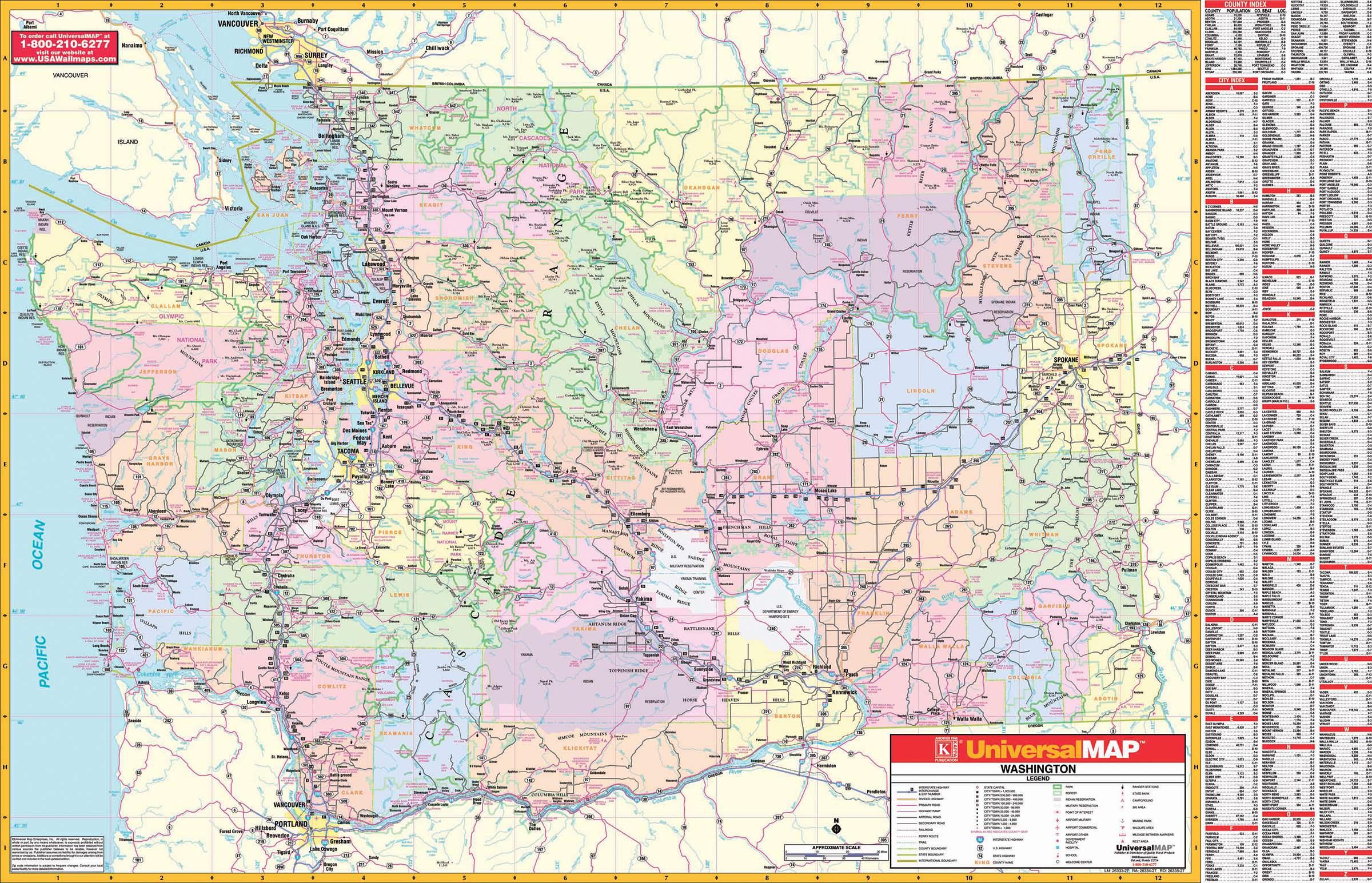 Washington State Wall Map – Kappa Map Group - Giant Texas Wall Map