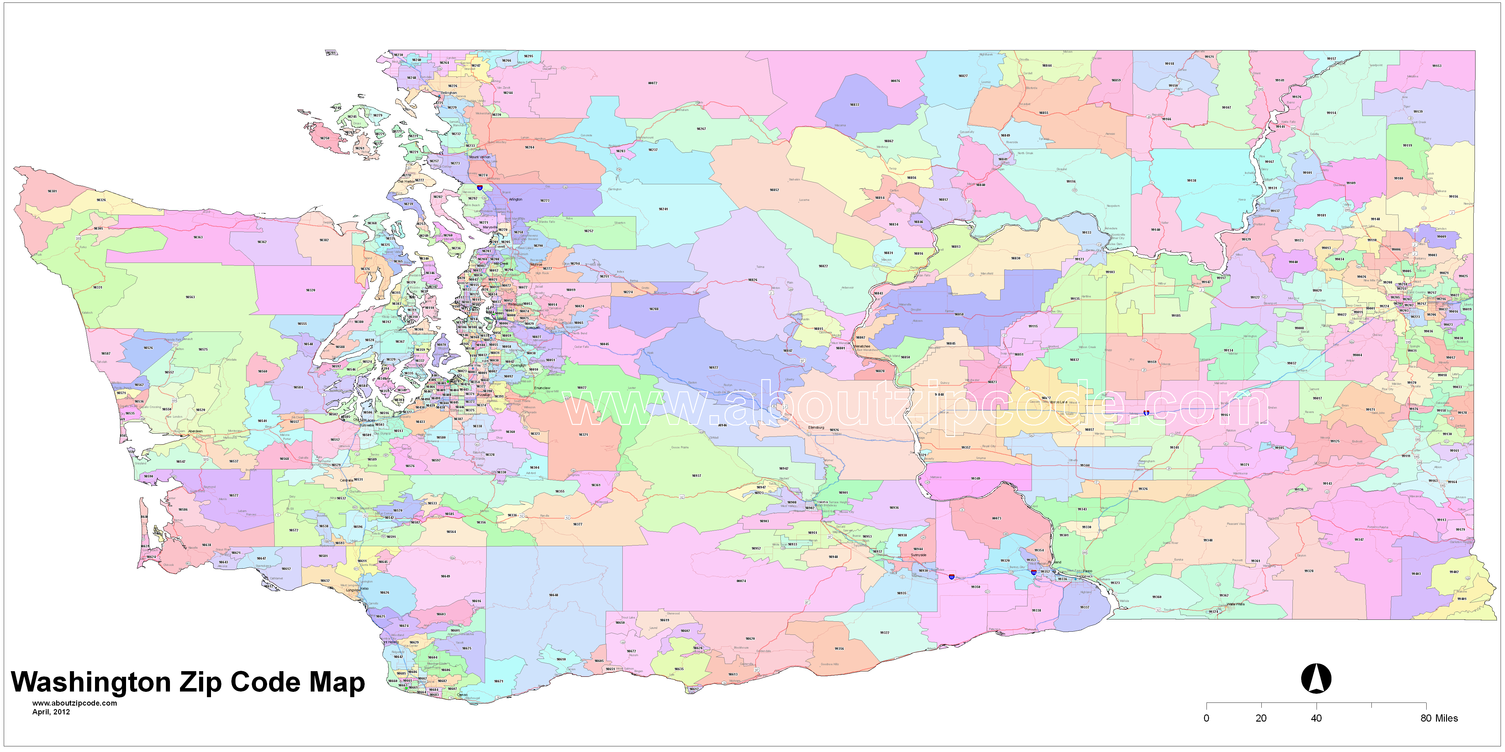 Washington Zip Code Maps - Free Washington Zip Code Maps - Free Printable Zip Code Maps