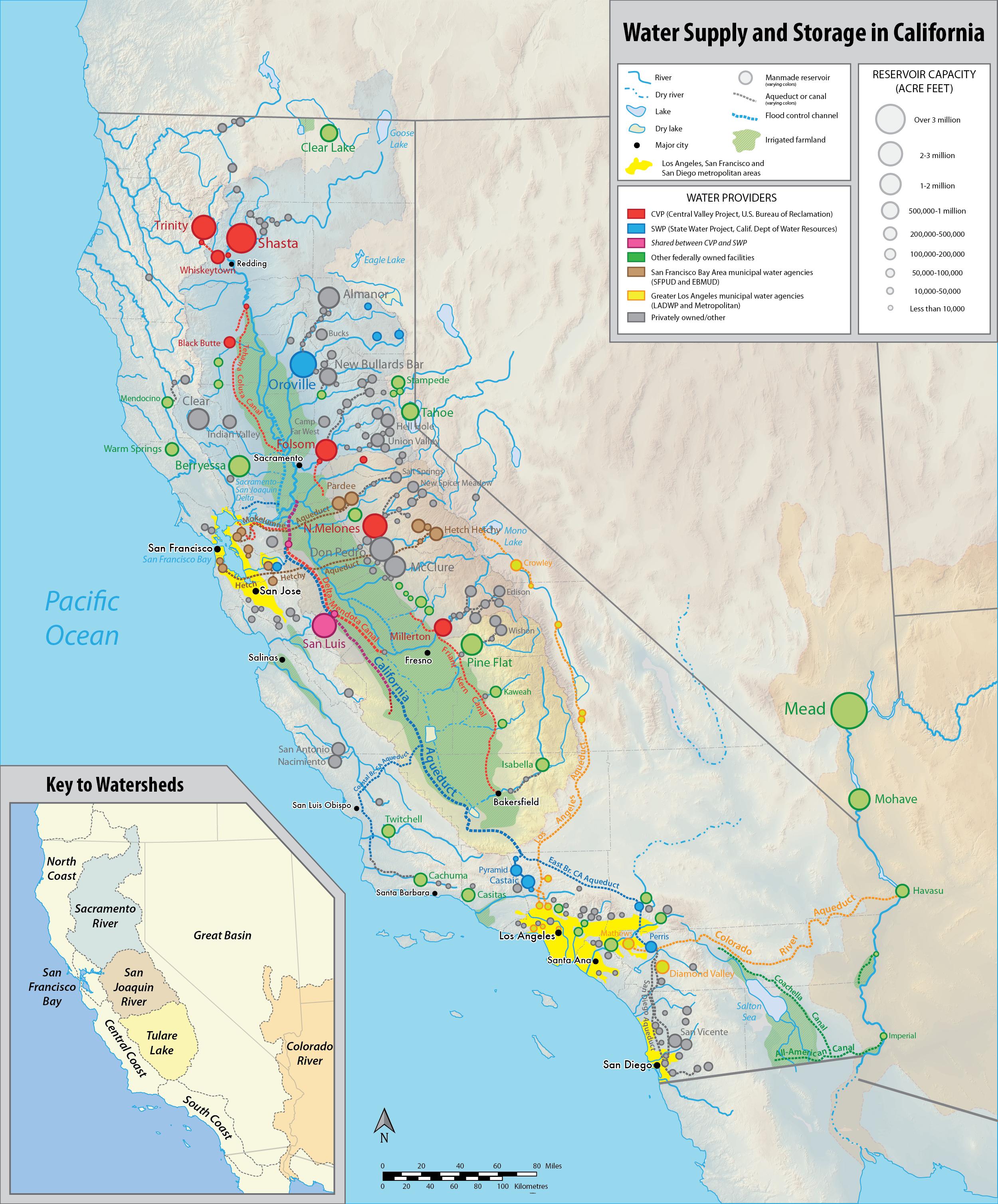 Water In California - Wikipedia - California Snow Map