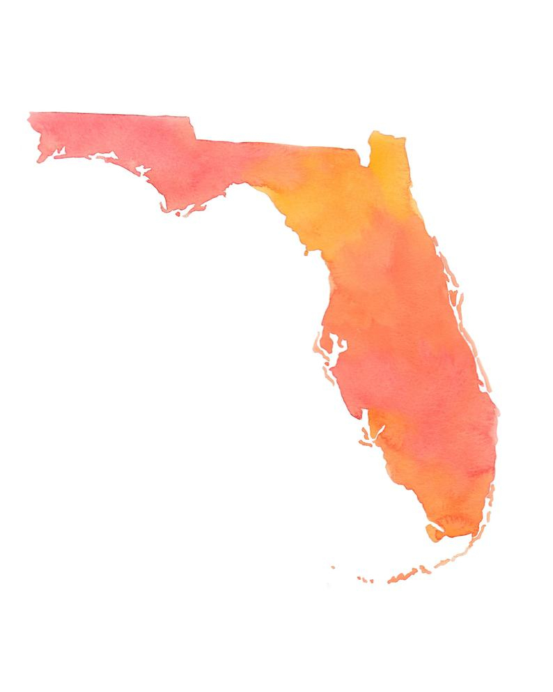 Watercolor Florida Map Art State Wall Art Watercolor Print | Etsy - Florida Map Art