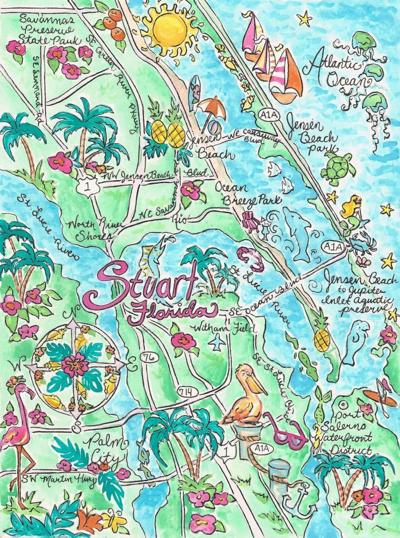 Watercolor Map Of Stuart Florida | Etsy - Watercolor Florida Map