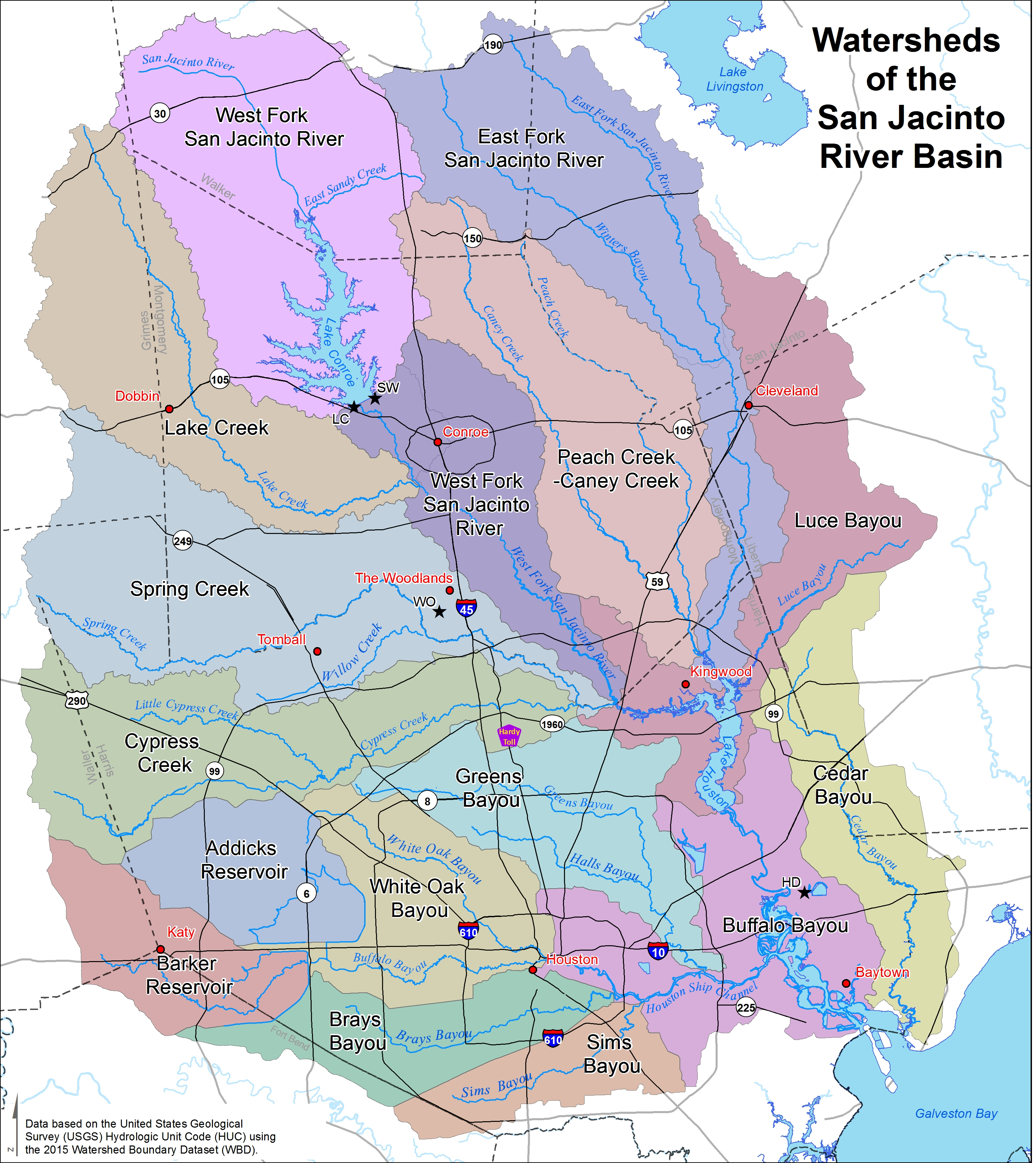 Watersheds - San Jacinto River Authority - Texas Creeks And Rivers Map