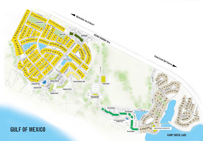 Watersound Florida Map | Beach Group Properties - Watercolor Florida Map