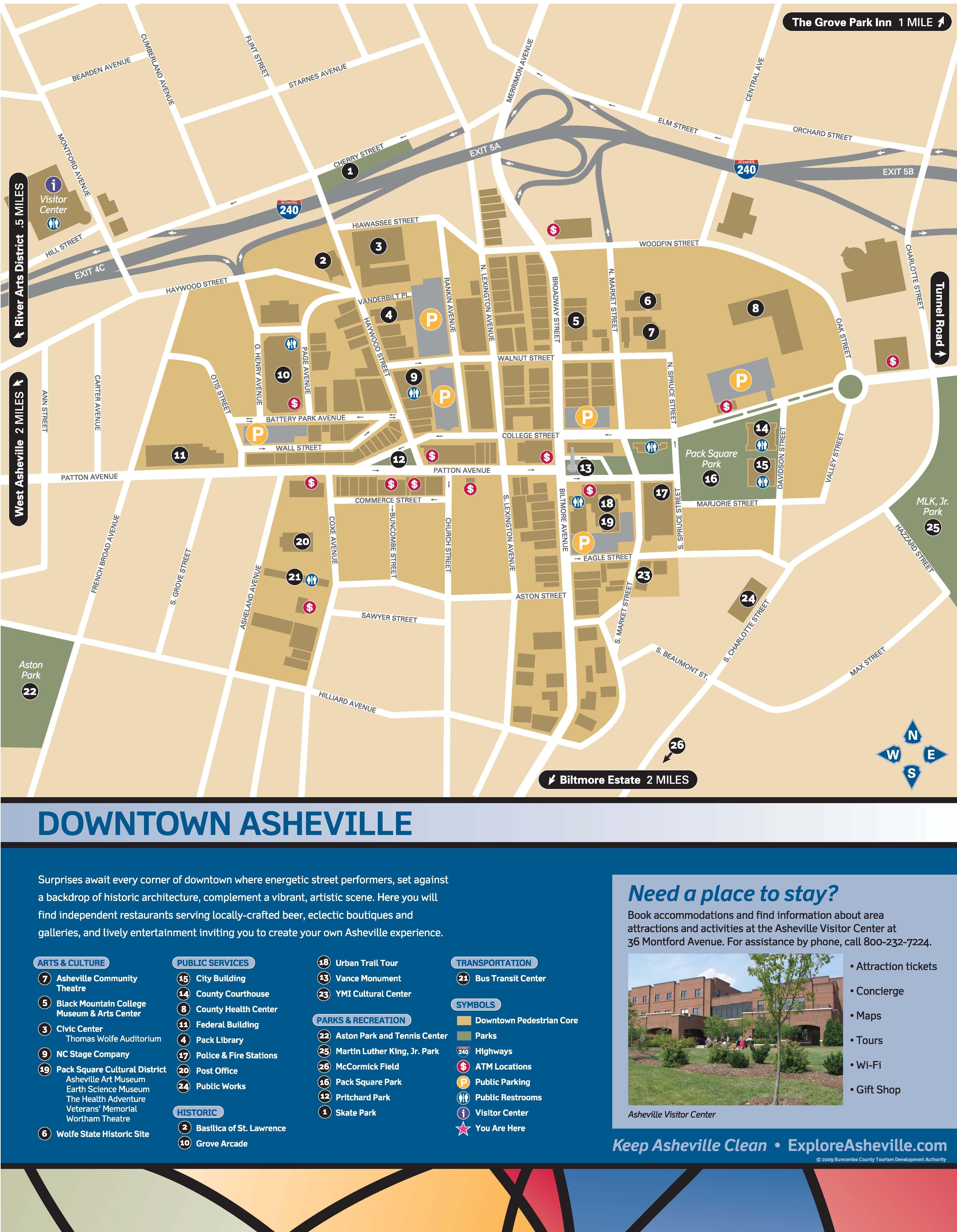Wayfinding Downtown Map_Thumbnail | Asheville, Nc | Pinterest - Printable Map Of Asheville Nc