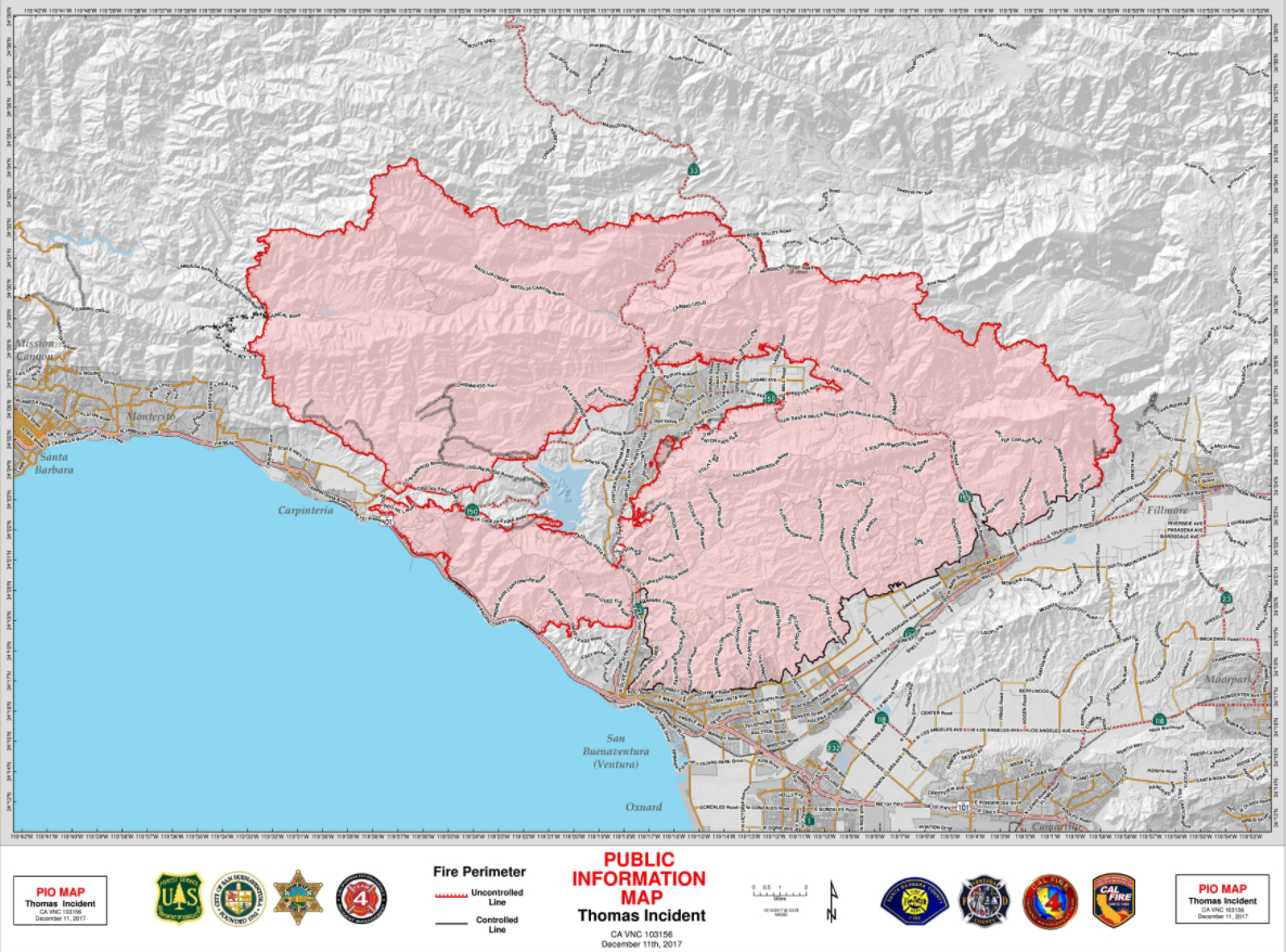We Don't Even Call It Fire Season Anymore … It's Year Round': Cal - Map Of Thomas Fire In California