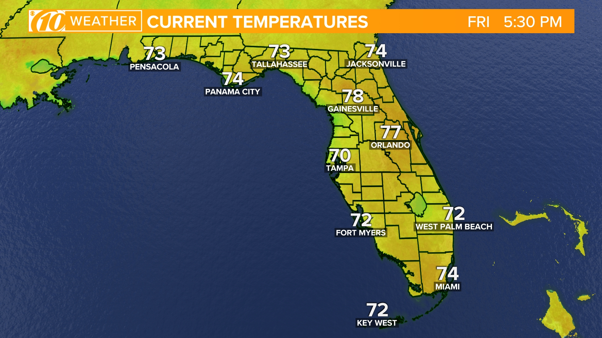 Weather Maps On 10News In Tampa Bay And Sarasota - Florida Weather Map Temperature
