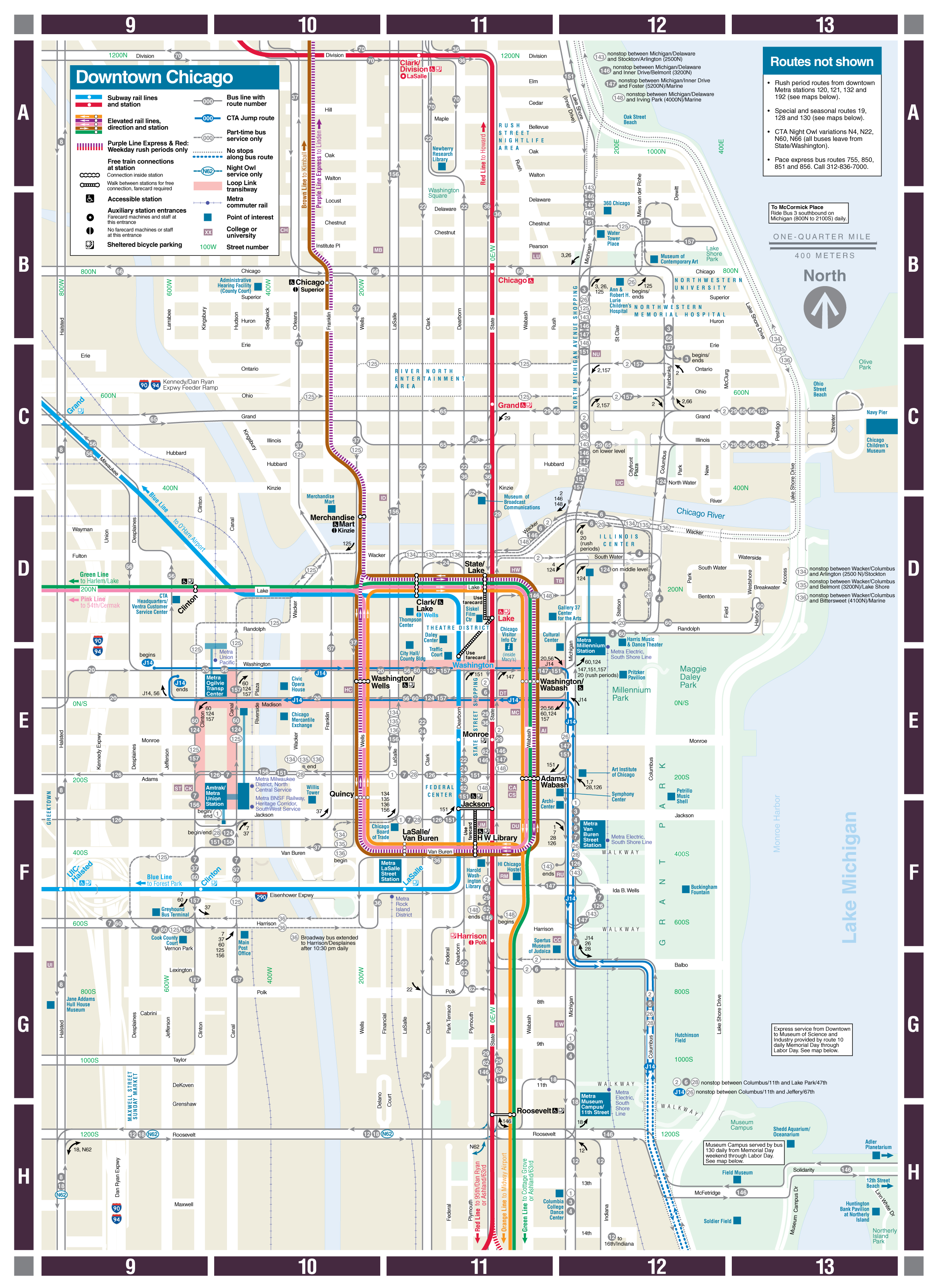 Web-Based Downtown Map - Cta - Printable Street Map Of Downtown Chicago